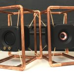 Stereo Speakers Suspended in Copper Pipe Frame