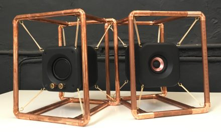 Stereo Speakers Suspended in Copper Pipe Frame